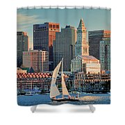 Sunset Sails On Boston Harbor Shower Curtain
