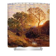 Sunset Shower Curtain by Samuel Palmer