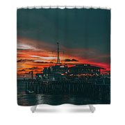 Sunset Santa Monica Pier Shower Curtain