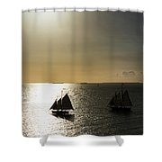 Sunset Schooners Shower Curtain