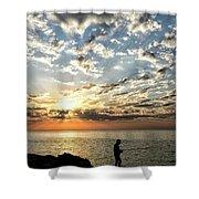 Sunset Sea Fishing  Shower Curtain