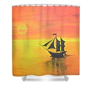 Sunrise Sea Ship Sss  Shower Curtain