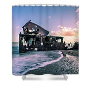 Sunset Shipwreck Shower Curtain