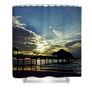 Sunset Silhouette Pier 60 Shower Curtain