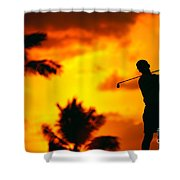 Sunset Silhouetted Golfer Shower Curtain