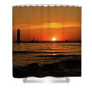 Sunset Silhouettes At Grand Haven Michigan Shower Curtain