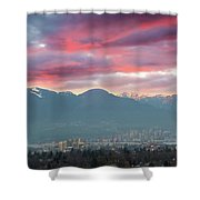 Sunset Sky Over Port Of Vancouver Bc Shower Curtain