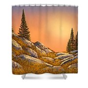 Sunset Spruces Shower Curtain