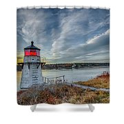 Sunset, Squirrel Point Lighthouse Shower Curtain