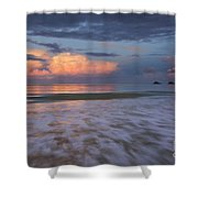 Sunset Storm Clouds Over Kailua Beach Shower Curtain by Charmian Vistaunet
