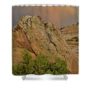 Sunset Storm Over Bentonite Site Boulders Shower Curtain
