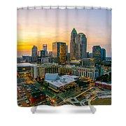 Sunset Sunrise Over Charlotte Skyline North Carolina Shower Curtain
