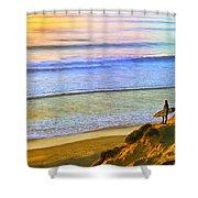Sunset Surf At La Jolla Shower Curtain