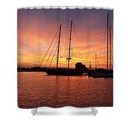 Sunset Tall Ships Shower Curtain