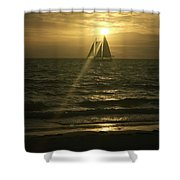 Sunset Through Sailboat Shower Curtain