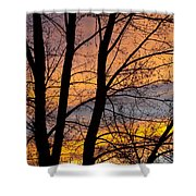 Sunset Through The Tree Silhouette Shower Curtain