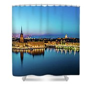 Sunset To Blue Hour Panorama Over Gamla Stan In Stockholm Shower Curtain