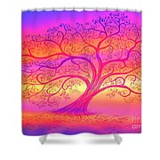 Sunset Tree Cats Shower Curtain