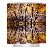 Sunset Tree Silhouette Abstract 1 Shower Curtain