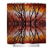 Sunset Tree Silhouette Abstract 2 Shower Curtain