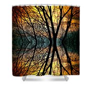 Sunset Tree Silhouette Abstract 3 Shower Curtain