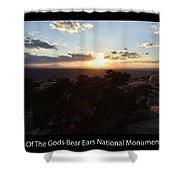 Sunset Valley Of The Gods Utah 01 Text Black Shower Curtain