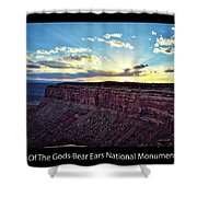 Sunset Valley Of The Gods Utah 03 Text Black Shower Curtain