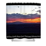 Sunset Valley Of The Gods Utah 05 Text Black Shower Curtain