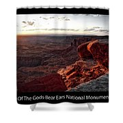 Sunset Valley Of The Gods Utah 09 Text Black Shower Curtain