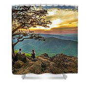 Sunset View At Ravens Roost Panorama Shower Curtain