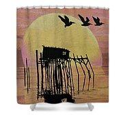 Sunset Wall Mural In Cedar Key, Fl Shower Curtain