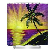 Sunset Water Color Footprints #26 Shower Curtain