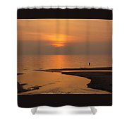 Sunset While Fishing At River Mouth And Lake Michigan Shower Curtain