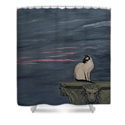 Sunset With A Siamese Cat On A Balustrade Shower Curtain