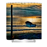 Sunset With Boat Shower Curtain