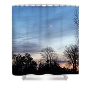 Sunset With Crescent Moon Shower Curtain