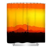 Sunset With Power Pole Shower Curtain