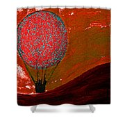 Sunset With Red Hot Air Balloon. Shower Curtain