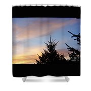 Sunset With Two Pine Trees Shower Curtain