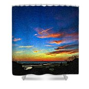 Sunset X Impasto Shower Curtain