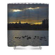 Sunset,lake, Shower Curtain