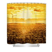 Sunsets And Golden Turbines Shower Curtain