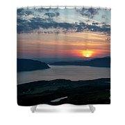 Sunsetting Over Portree, Isle Of Skye, Scotland. Shower Curtain