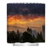 Sunsrise Over City Of Portland And Mount Hood Shower Curtain