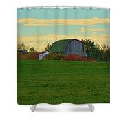 Sunsset On A Barn Shower Curtain