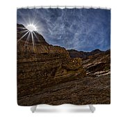 Sunstar Over Mosaic Canyon - Death Valley Shower Curtain