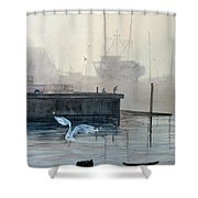 Sunup At The Docks Shower Curtain