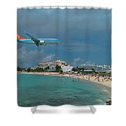 Sunwing Airline At Sxm Airport Shower Curtain