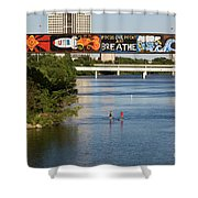 Sup Stand Up Paddle Board Couple Row Under The Focus One Point And Breathe Shower Curtain