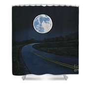 Super Moon At The End Of The Road Shower Curtain